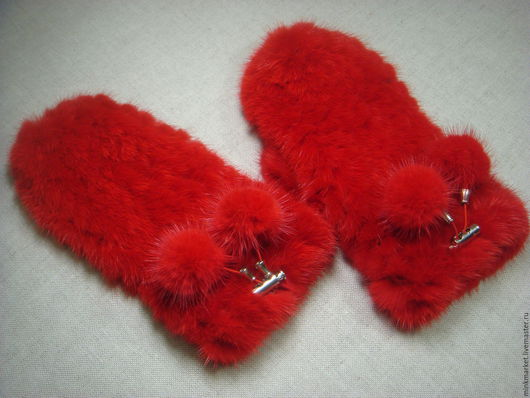 Варежки, митенки, перчатки ручной работы. Ярмарка Мастеров - ручная работа. Купить Варежки из меха норки вязаные. Handmade.