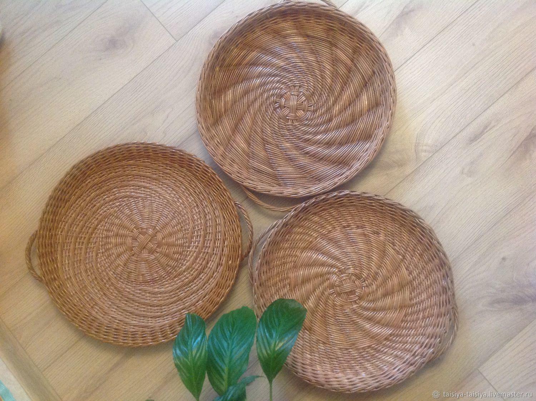Плетеные настенные тарелки - подносы, Корзины, Москва,  Фото №1