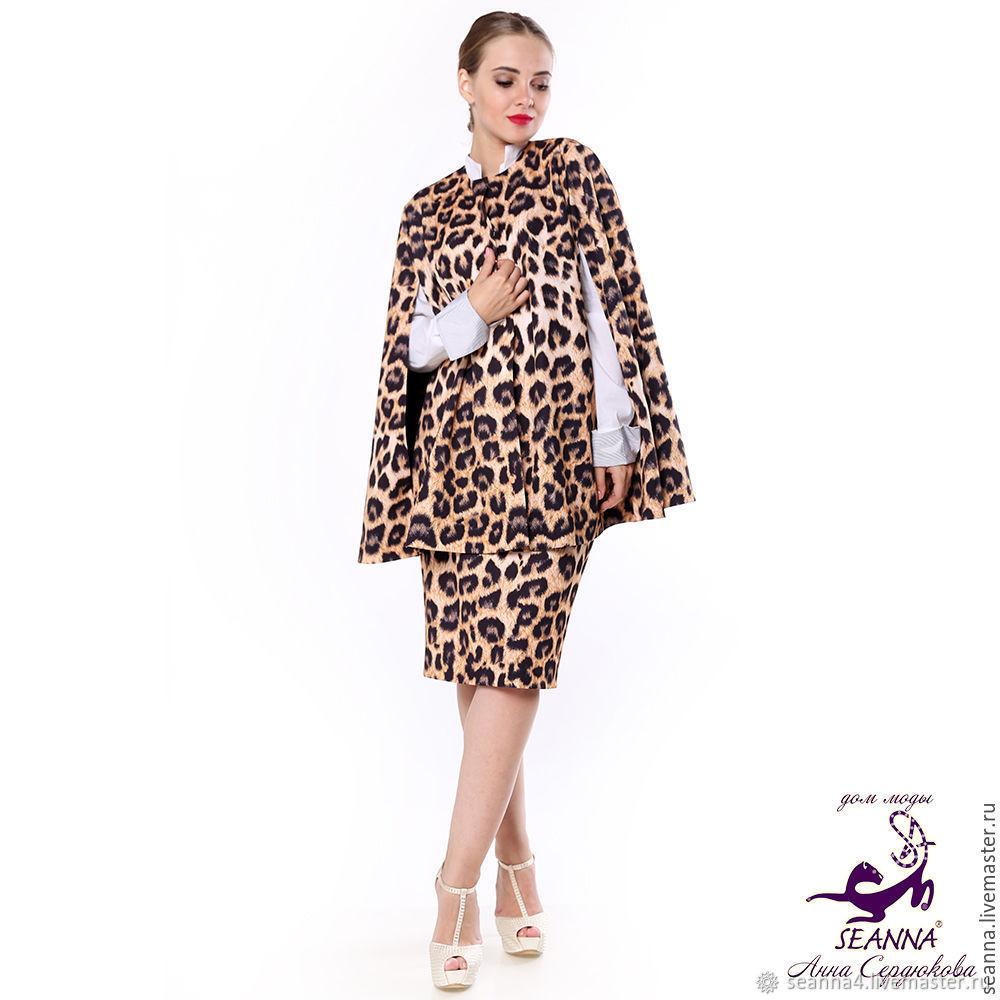 """Кейп, накидка """"Леопард"""" из костюмной ткани на размер 44-54, Пальто, Воронеж,  Фото №1"""