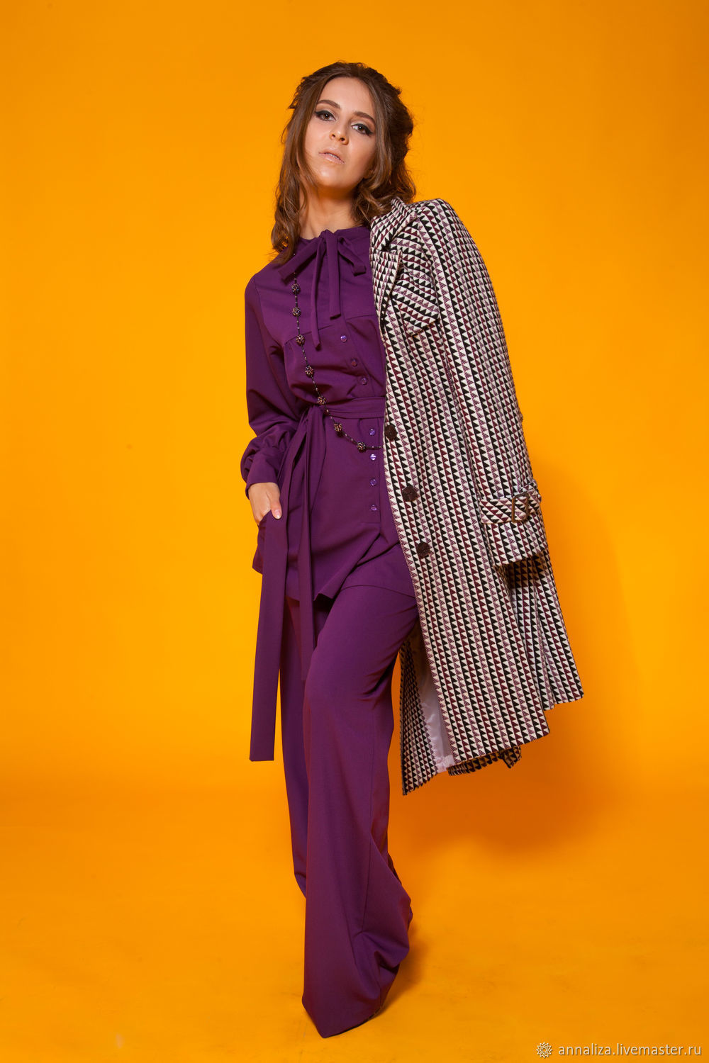 Women's suit with the style of the 70's 'Purple charm', Suits, Moscow,  Фото №1
