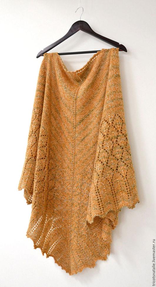 шаль шаль вязаная теплая шаль ажурная шаль желтая горчичная листья