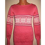 Одежда handmade. Livemaster - original item Knit snowflake sweater (pink). Handmade.