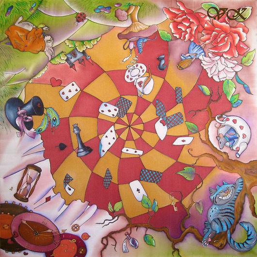 """Шали, палантины ручной работы. Ярмарка Мастеров - ручная работа. Купить Платок батик  """"Алиса в стране чудес"""".. Handmade. Батик"""