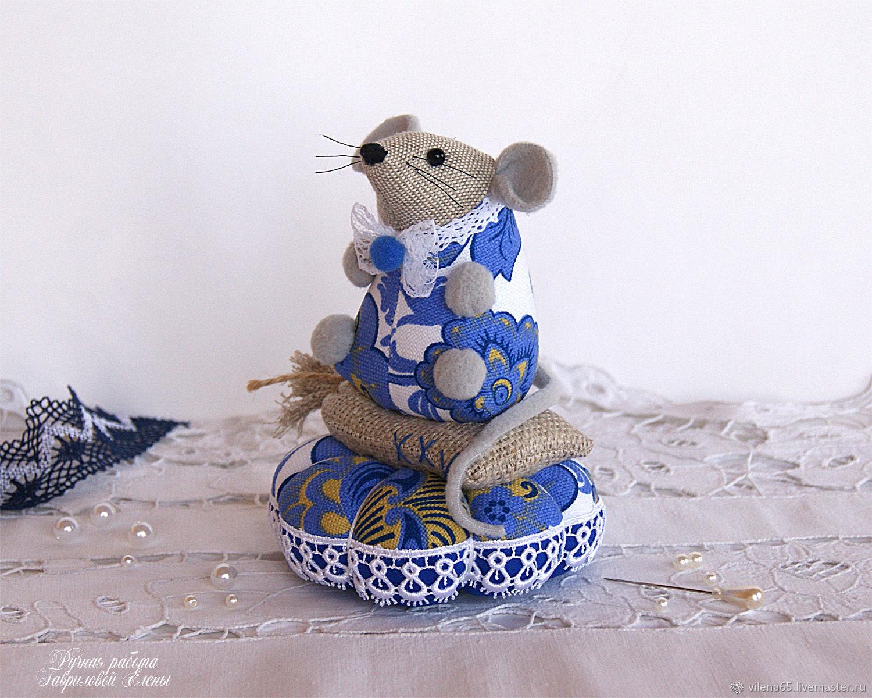 Mysha Gzhel. Needler, mouse, mouse, blue, toy, Christmas gifts, Magnitogorsk,  Фото №1