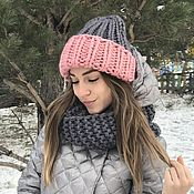 Шапки ручной работы. Ярмарка Мастеров - ручная работа Комплект зимний шапка с отворотом и снуд. Handmade.