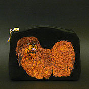 Сумки и аксессуары handmade. Livemaster - original item Pekingese - cosmetic bag made of suede.. Handmade.