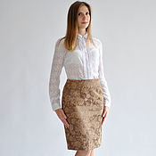 Одежда handmade. Livemaster - original item Skirt-Coffee-cotton-jacquard. Handmade.