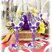"""Свадебный салон ручной работы. Ярмарка Мастеров - ручная работа Бокалы """"Виолетта"""". Handmade."""