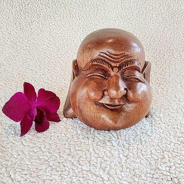 Для дома и интерьера ручной работы. Ярмарка Мастеров - ручная работа Смеющийся Будда голова Хотей деревянная статуэтка с острова Бали. Handmade.