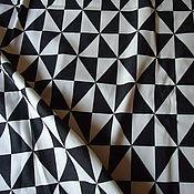 Материалы для творчества handmade. Livemaster - original item Denim fabric cotton black and white Triangles. Handmade.