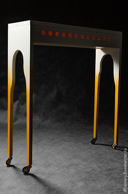Мебель ручной работы. Ярмарка Мастеров - ручная работа. Купить Столик с подсветкой. Handmade. Белый, маленький, желтый, сосна