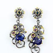 Украшения handmade. Livemaster - original item Earrings with natural sapphire and amethyst.. Handmade.