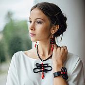 Украшения handmade. Livemaster - original item Set of leather decorations AI. Necklace, Bracelet, Earrings.. Handmade.