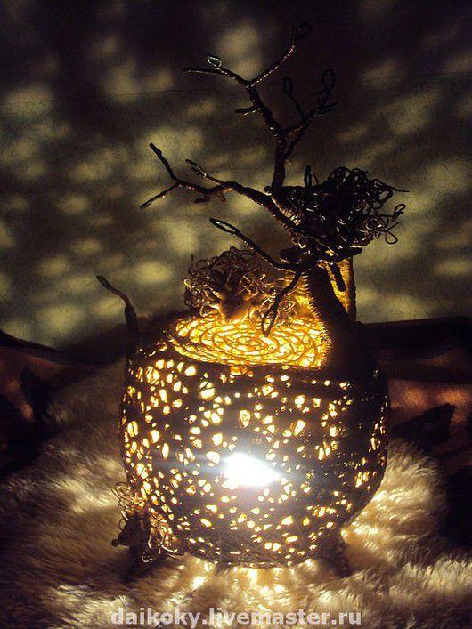 """Освещение ручной работы. Ярмарка Мастеров - ручная работа. Купить Лампа """"Пень с ежами"""". Handmade. Ночник, ежики, шпагат, акрил"""