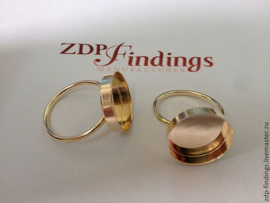 Для украшений ручной работы. Ярмарка Мастеров - ручная работа. Купить Основа Gold filled для кольца с кабошоном 15мм (R15GF). Handmade.