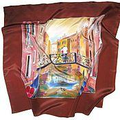 Аксессуары handmade. Livemaster - original item Batik Shawl is the Bridge for lovers. Handmade.
