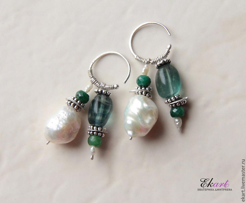 Earrings Handmade Livemaster Dvojcatka Beauty Silver Emerald