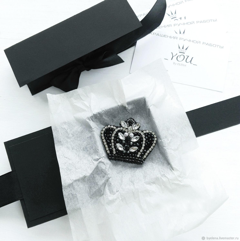 Brooch 'Crown', handmade. Brooch black, Brooches, Novosibirsk,  Фото №1