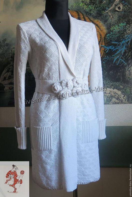 Фото. Вязаное белое пальто летнее `Летний вечер` связано из хлопка с вискозой. Вязаный кардиган.