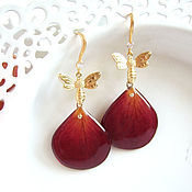 Украшения handmade. Livemaster - original item Earrings with Real Rose Petals Korean accessories 3. Handmade.