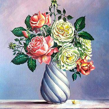 """Картины и панно ручной работы. Ярмарка Мастеров - ручная работа Картина цветы в вазе """"Чайные розы"""". Handmade."""