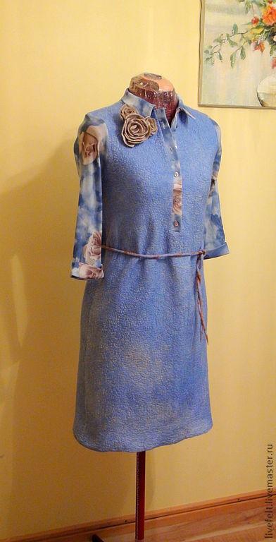 """Платья ручной работы. Ярмарка Мастеров - ручная работа. Купить Валяное платье-рубашка  """"Небесные Розы"""". Handmade. Бежевый, золотистый"""