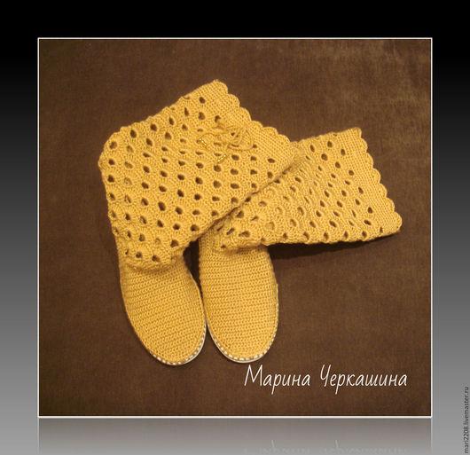"""Обувь ручной работы. Ярмарка Мастеров - ручная работа. Купить Вязаная обувь. Летние вязаные сапожки """"Золотой песок"""". Handmade."""