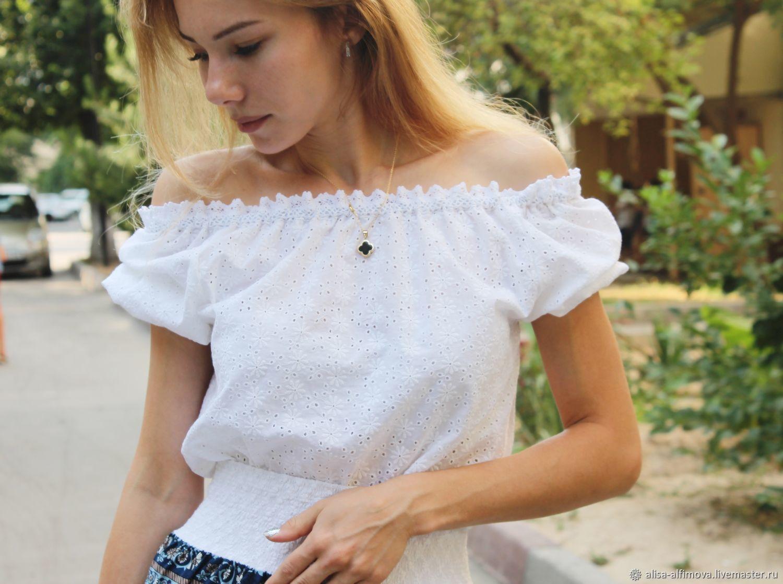 White blouse with lace 'La mia estate', Blouses, Tashkent,  Фото №1