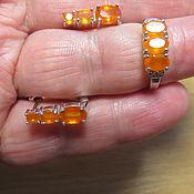 Комплекты украшений ручной работы. Ярмарка Мастеров - ручная работа Кольцо и серьги с оранжевыми опалами. Handmade.