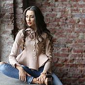 Одежда ручной работы. Ярмарка Мастеров - ручная работа Валяная блуза «Пудровые фиалки». Handmade.
