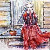 """Картины и панно ручной работы. Ярмарка Мастеров - ручная работа Акварель """"Красна девица"""". Handmade."""