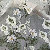 Материалы для творчества handmade. Livemaster - original item Exquisite 3D embroidery on mesh prom dress. Calla lilies. Handmade.