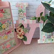 Для дома и интерьера ручной работы. Ярмарка Мастеров - ручная работа миникомод LOVE кашпо набор Розовый зефир декупаж. Handmade.