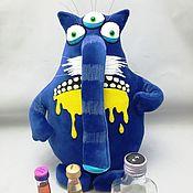 Куклы и игрушки handmade. Livemaster - original item Drinking doesn`t help! Soft toy plush blue cat Vasya Lozhkina. Handmade.