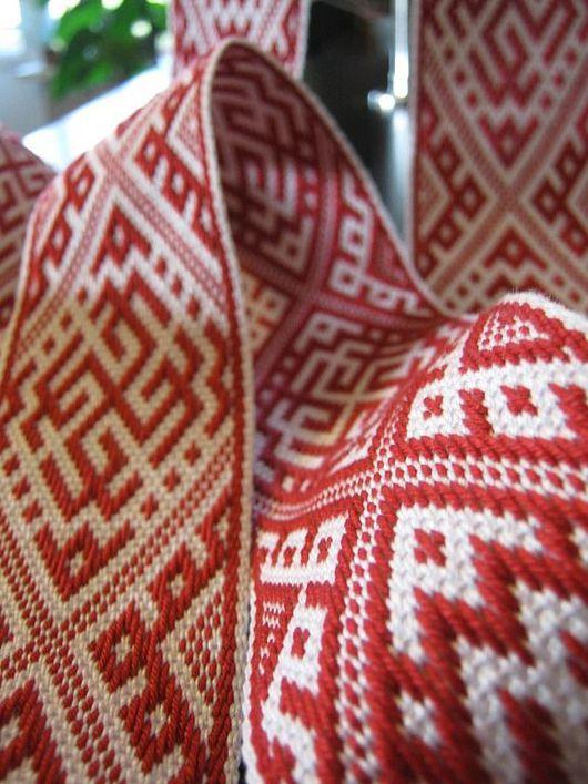 """Ткачество ручной работы. Ярмарка Мастеров - ручная работа. Купить Пояс-Кушак """"Сварожич"""" красный. Handmade. Ярко-красный"""