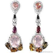 Earrings handmade. Livemaster - original item Long silver earrings with natural stones