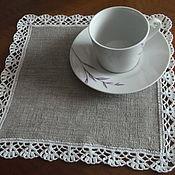 Для дома и интерьера ручной работы. Ярмарка Мастеров - ручная работа Набор льняных салфеток с кружевной каймой. Handmade.