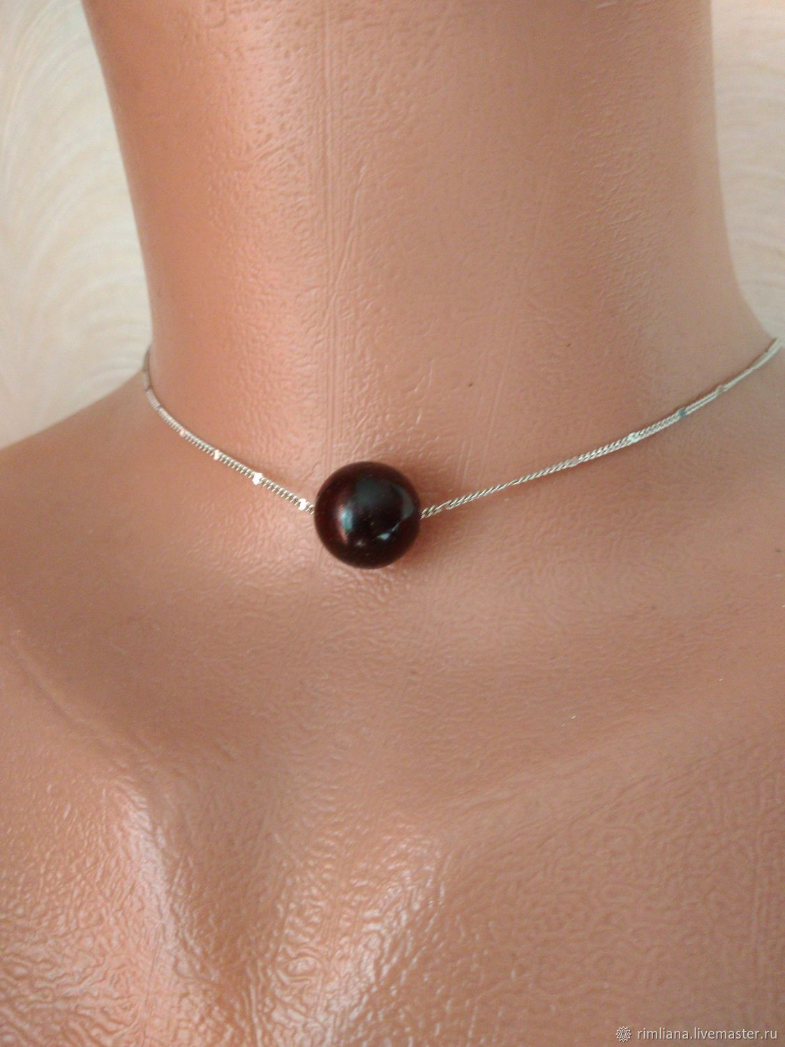 Mini necklace 'Garnet ball' Silver Minimalism Brevity, Necklace, Moscow,  Фото №1