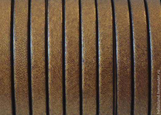 Для украшений ручной работы. Ярмарка Мастеров - ручная работа. Купить Кожаный шнур плоский 5 мм античное золото. Handmade.