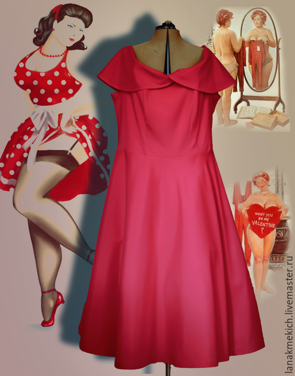 Платья ретро большие размеры