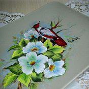 Посуда ручной работы. Ярмарка Мастеров - ручная работа Блюдо прямоугольное Цветы и птица. Handmade.