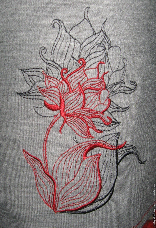 Вышивка цветов контуром