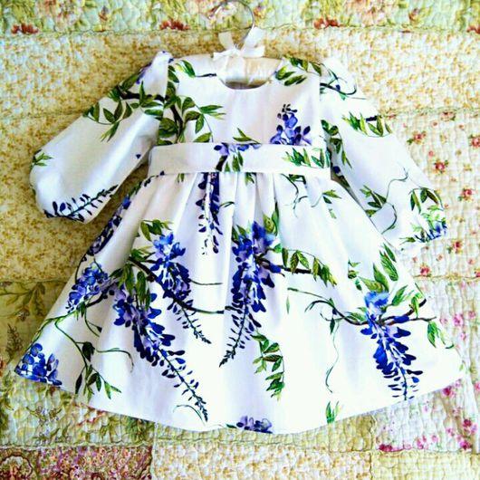 """Одежда для девочек, ручной работы. Ярмарка Мастеров - ручная работа. Купить Платье для девочки """"Цветущая глициния"""". Handmade. Белый, для детей"""
