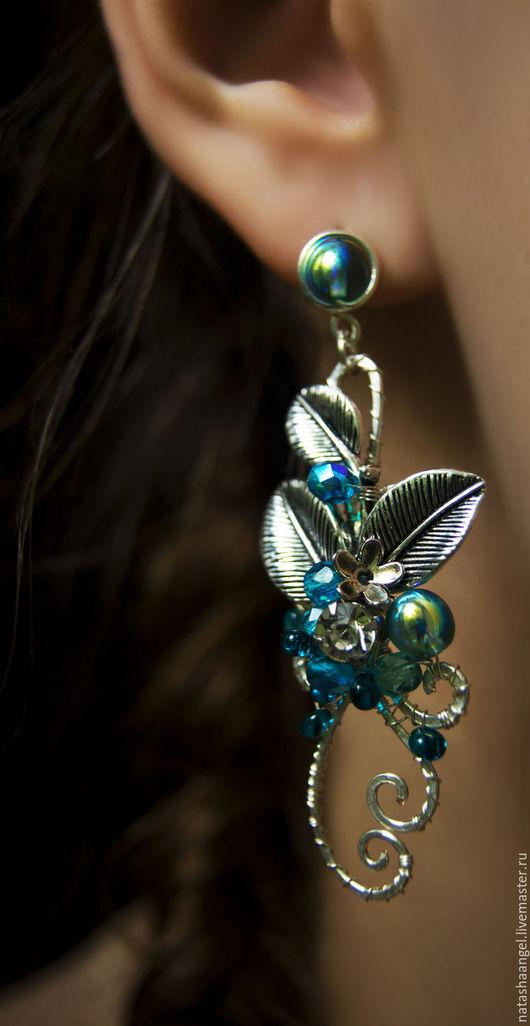 Серьги ручной работы. Ярмарка Мастеров - ручная работа. Купить Крупные серьги серебро (голубой цвет, украшения серебристый цвет). Handmade.