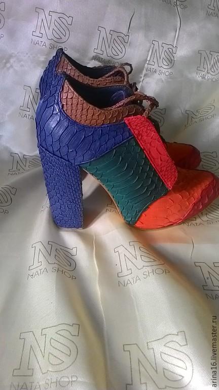 Обувь ручной работы. Ярмарка Мастеров - ручная работа. Купить Ботильоны Just Cavalli. Handmade. Разноцветный, сапоги из питона, осень