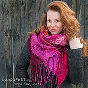 Аксессуары ручной работы. Ярмарка Мастеров - ручная работа Каркаде - нуно-войлочный шарф из натурального шёлка и шерсти. Handmade.