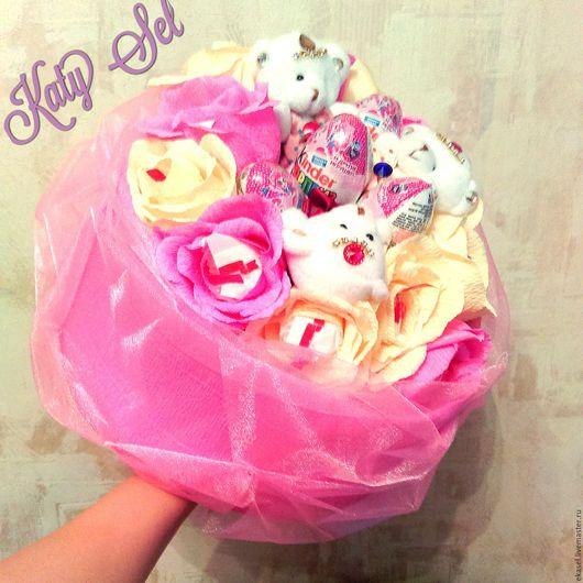Персональные подарки ручной работы. Ярмарка Мастеров - ручная работа. Купить Букет Mix3. Handmade. Розовый, букет из игрушек и конфет
