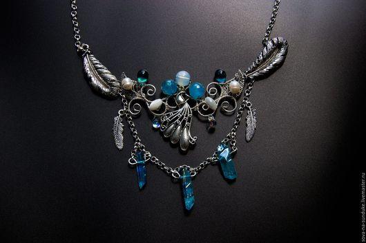 Колье, бусы ручной работы. Ярмарка Мастеров - ручная работа. Купить Бохо колье в стиле wire wrap Синяя птица. Handmade.