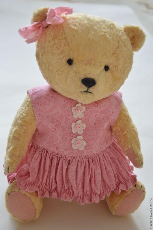 Мишки Тедди ручной работы. Ярмарка Мастеров - ручная работа. Купить Мишка тедди Полинка в розовом платье. Handmade. Бежевый