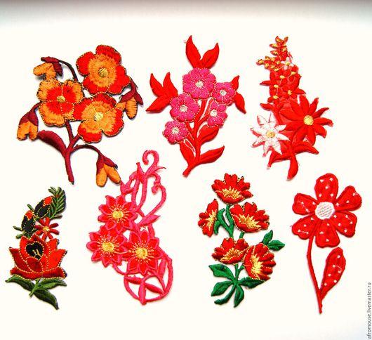 """Аппликации, вставки, отделка ручной работы. Ярмарка Мастеров - ручная работа. Купить термоапликации """"Красные цветы"""" вышивки. Handmade. Термоапликация"""